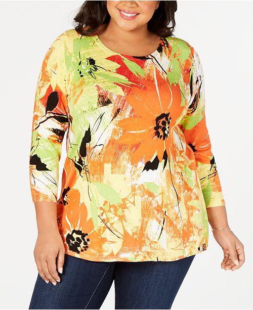 Joseph A Plus Size Printed Sweater
