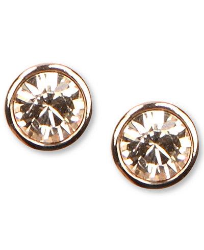 Givenchy Earrings Rose Gold Tone Swarovski Element Stud