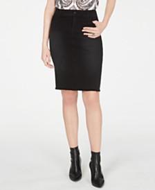 I.N.C. Curvy Raw-Edge Jean Skirt, Created for Macy's