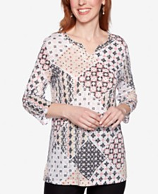 Alfred Dunner Classics Printed Split-Neck Top