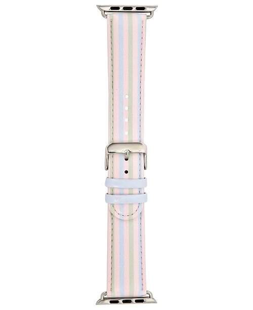 INC International Concepts I.N.C. Pastel Multi-Stripe Faux-Leather Apple Watch® Strap, Created for Macy's