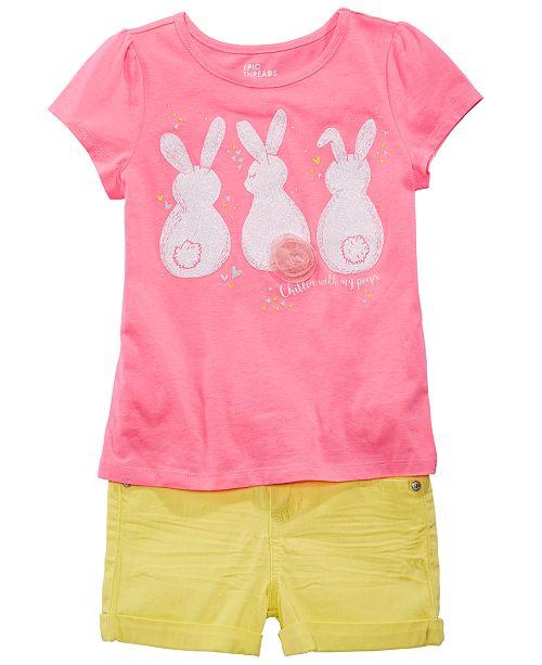 c1493818cbc Epic Threads Little Girls Bunny-Print T-Shirt   Cuffed Shorts