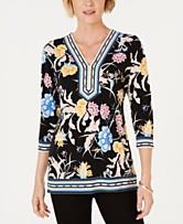e66bd009d29 JM Collection Floral-Print Studded Tunic Top