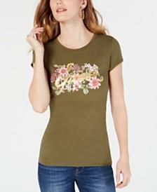 GUESS Flower Garden Logo-Print T-Shirt