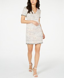 Trina Turk Frayed-Trim Tweed Sheath Dress