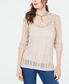 GUESS Lace-Up Eyelet-Stitch Sweater