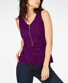 Thalia Sodi Lace Zipper-Front Top, Created for Macy's