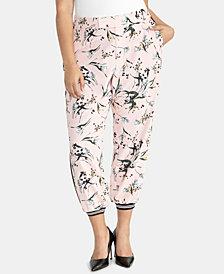 RACHEL Rachel Roy Trendy Plus Size Floral-Print Joggers
