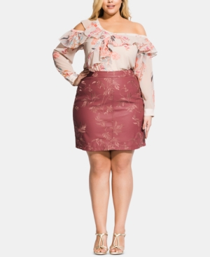 City Chic Skirts TRENDY PLUS SIZE EMBROIDERED FAUX-LEATHER SKIRT