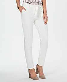 Belted Stretch Straight-Leg Pants