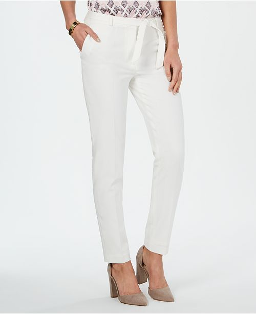 Nine West Belted Stretch Straight-Leg Pants