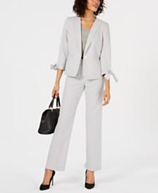 Le Suit Seersucker Tie-Cuff Pantsuit