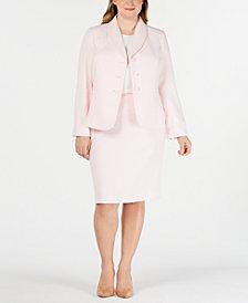 Le Suit Plus Size Textured Skirt Suit