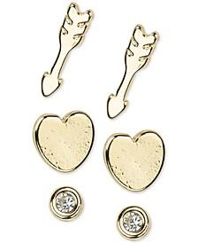 14k Gold 6-Pc. Set Follow Your Heart Stud Earrings