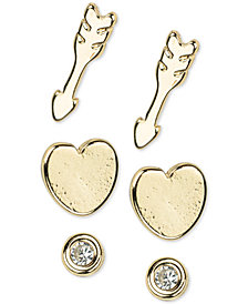 Kitsch Gold-Tone 6-Pc. Set Follow Your Heart Stud Earrings