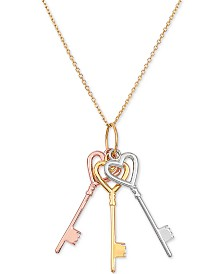 "Tricolor Triple Key 18"" Pendant Necklace in 14k Gold, White Gold & Rose Gold"