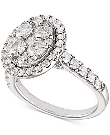 Diamond (2 ct. t.w.) Halo Engagement Ring in 14k White Gold