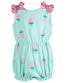 First Impressions Baby Girls Strawberry-Print Cotton Romper, Created for Macy's