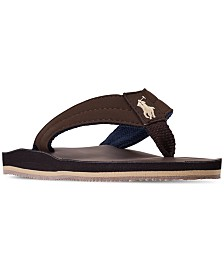 Polo Ralph Lauren Little Boys' Leo Faux Leather Flip Flop Sandals from Finish Line