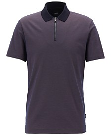 BOSS Men's Regular/Classic Fit Half-Zip Cotton Polo