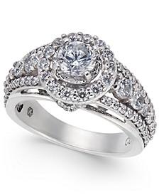 Diamond Halo Statement Ring (1-1/2 ct. t.w.) in 14k White Gold