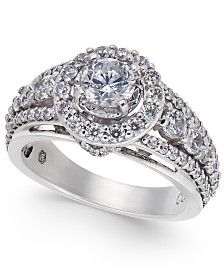 Diamond Halo Statement Ring (1-1/2 ct. t.w.) in 14k White Gold