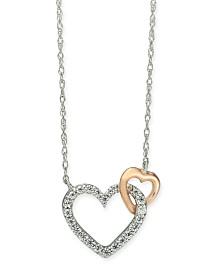 "Diamond Heart 18"" Pendant Necklace (1/10 ct. t.w.) in 14k White Gold and 14k Rose Gold"