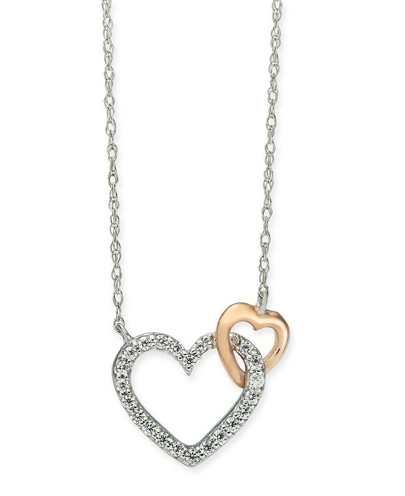 "Macy's Diamond Heart 18"" Pendant Necklace (1/10 ct. t.w.) in 14k White Gold and 14k Rose Gold"