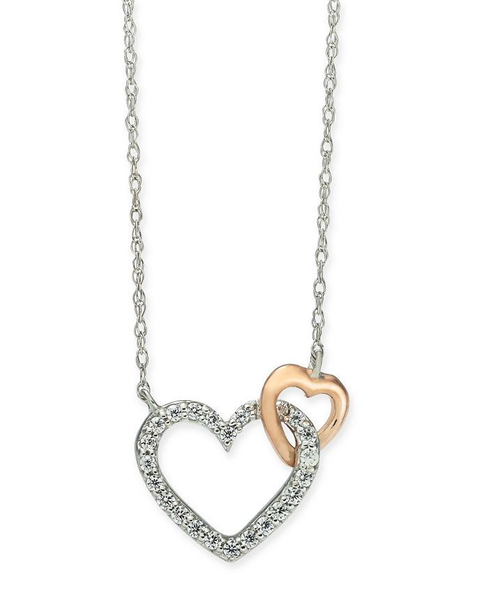"""Macy's - Diamond Heart 18"""" Pendant Necklace (1/10 ct. t.w.) in 14k White Gold and 14k Rose Gold"""