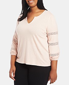 Trendy Plus Size Lace-Inset Top