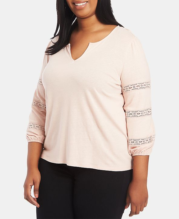 1.STATE Trendy Plus Size Lace-Inset Top