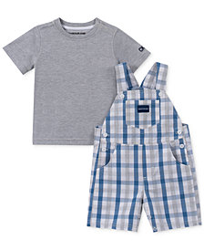 Calvin Klein Baby Boys 2-Pc. T-Shirt & Plaid Shortall Set