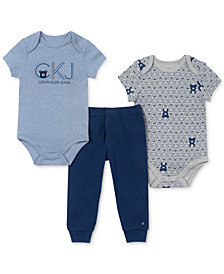 Calvin Klein Baby Boys 3-Pc. Bear Bodysuits & Jogger Pants Set