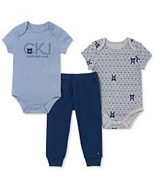 Calvin Klein Baby Boys 3-Pc. Bear Bodysuits & Jogger Pants Set