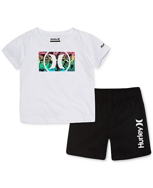 Hurley Baby Boys 2-Pc. Cotton T-Shirt & Swim Trunks Set