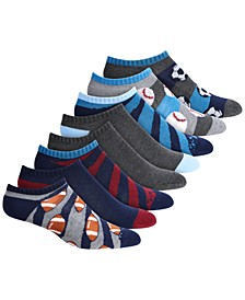 Toddler, Little & Big Boys 8-Pk. No-Show Sports-Print Socks