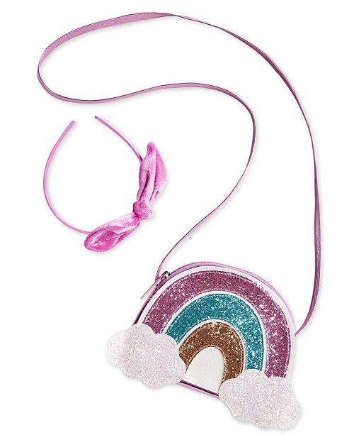 On the Verge Little & Big Girls Rainbow Glitter Bag & Bow Headband Set