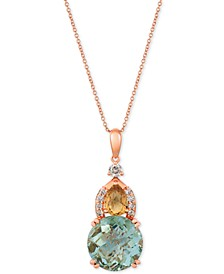 "Multi-Gemstone (6-3/8 ct. t.w.) & Nude Diamond (3/8 ct. t.w.) 20"" Pendant Necklace in 14k Rose Gold"
