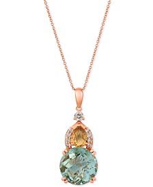 "Le Vian® Multi-Gemstone (6-3/8 ct. t.w.) & Nude Diamond (3/8 ct. t.w.) 20"" Pendant Necklace in 14k Rose Gold"