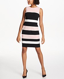 Petite Scuba Crepe Colorblock Sheath Dress