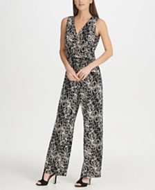 DKNY Printed Zipper Jumpsuit, Created for Macy's