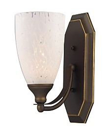 Vanity 1 Light Aged Bronze with Snow White Glass