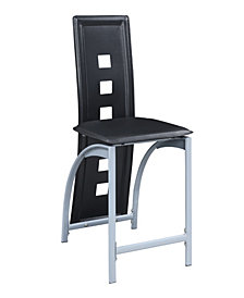 Benzara Metal & Faux Leather High Chair with Eyelet Design, Set of 2
