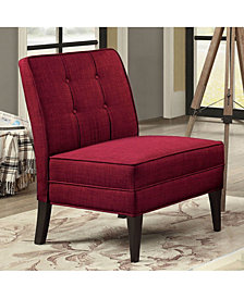 Benzara Button Tufted Fabric Upholstered Accent Armless Chair