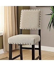Rustic Bar Chair in Ivory Linen, Set of 2
