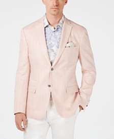 Tallia Orange Men's Slim-Fit Pink Windowpane Linen Sport Coat