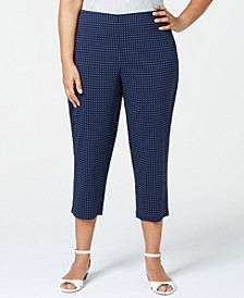 Plus Size Tummy Control Dot-Print Cropped Pants, Created for Macy's