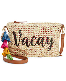 I.N.C. Tropical Straw Crossbody, Created for Macy's
