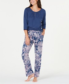 Sesoire Jersey Knit 3/4-Sleeve Top and Pajama Pants Set