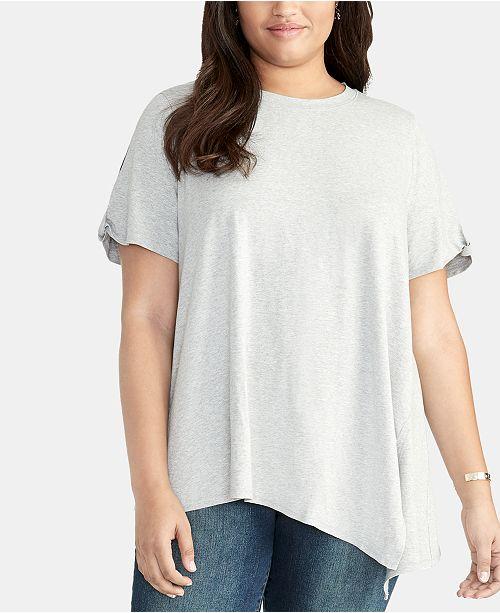 RACHEL Rachel Roy Trendy Plus Size Split-Sleeve Asymmetrical Top